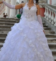 Свадебное платье+подарок - перчатки